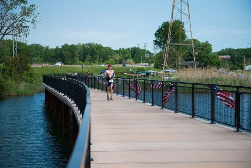 Walker on Boardwalk at Wolf Lake