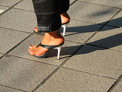 women's heels concrete pavers