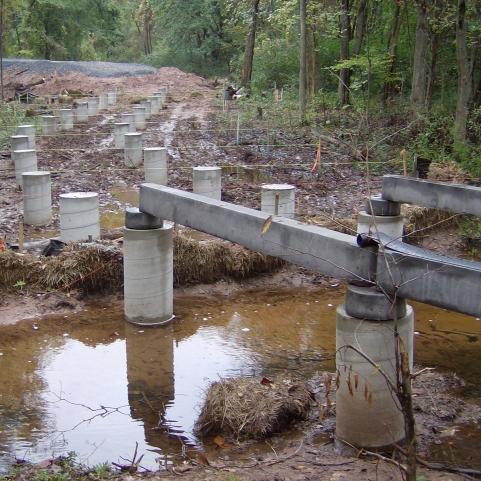 concrete caisson boardwalk foundation