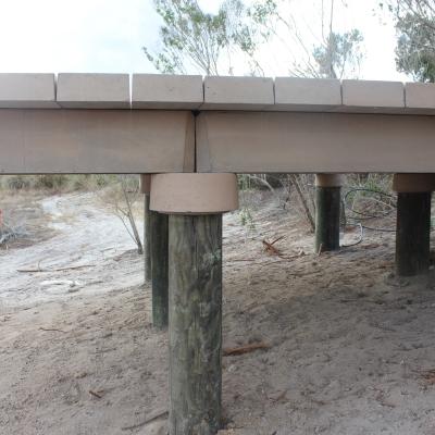 timber pile boardwalk foundation