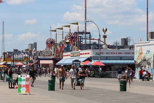 Coney Island Beach Boardwalk Riegelmann Boardwalk Brooklyn Ny