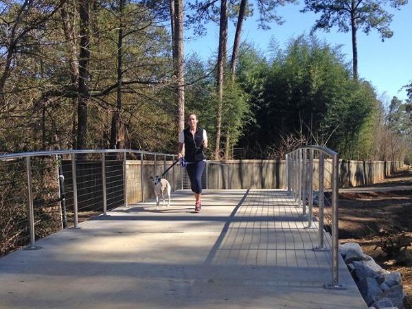 Walking Dog on Boardwalk at Camp Creek Greenway, Georgia
